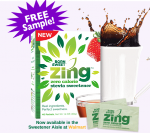 Score a FREE Zing stevia sweetener sample today!