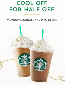 Score half off frappuccinos at Starbucks today!