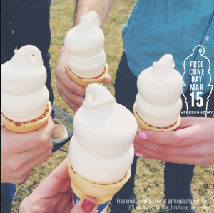 Score a FREE ice cream cone at Dairy Queen today.