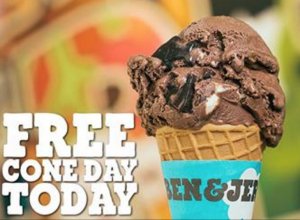 Grab a FREE ice cream cone at Ben & Jerry's today. Yum!