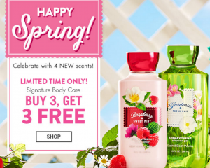 Bath & Body Works: Buy 3 Get 3 FREE Signature Body Care (Four New Scents!)