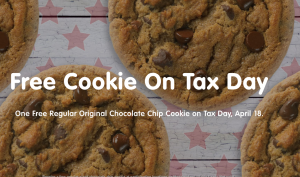 Score a FREE chocolate chip cookie today. Yum!