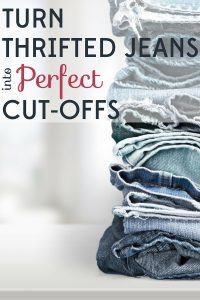 The perfect cut-offs are hard to find, so make your own with thrifted jeans! All you need are scissors, tweezers, and a little know-how.