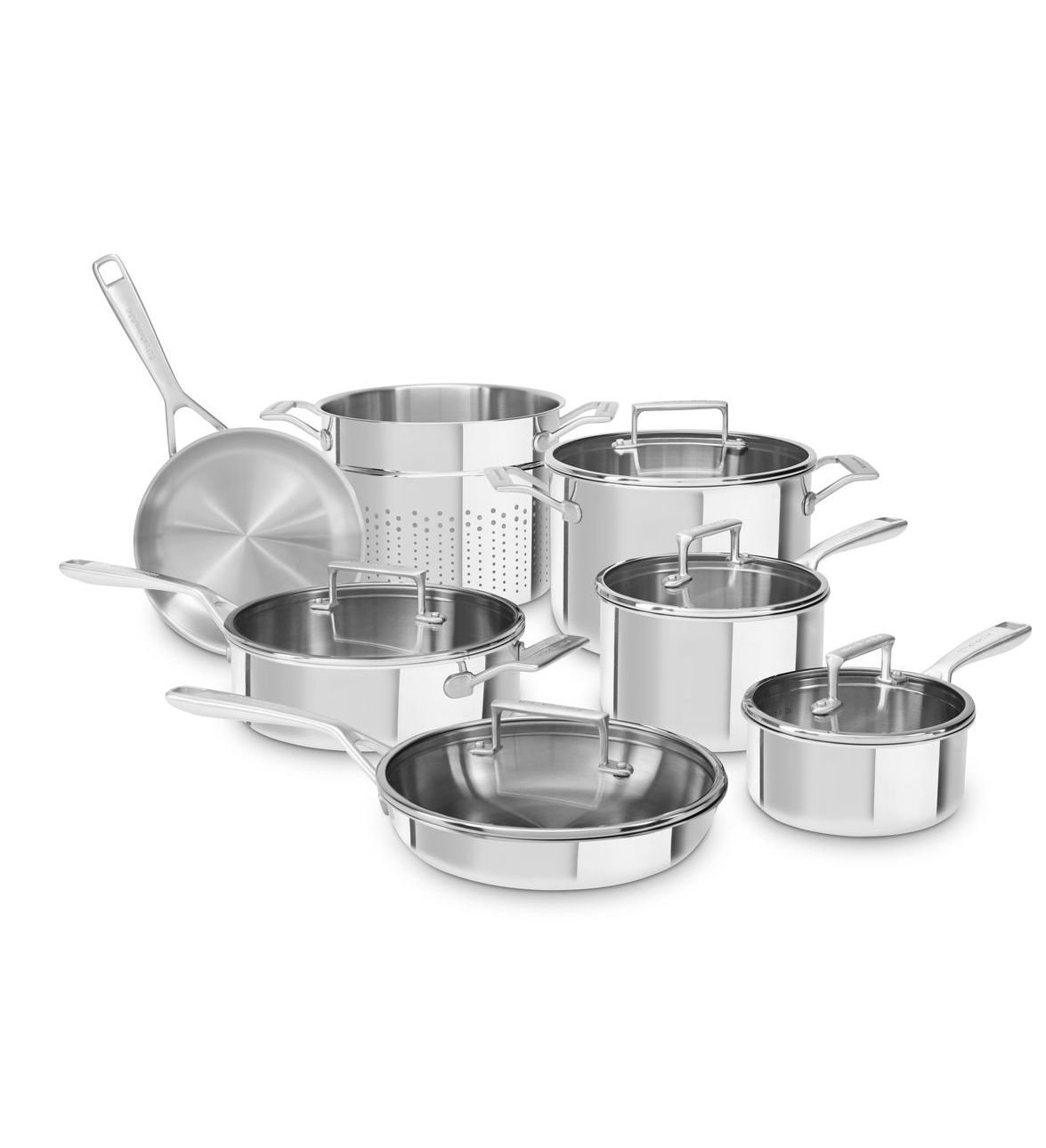 Kitchenaid Tri Ply Stainless Steel 12 Piece Set Only 222 99