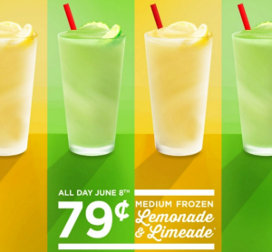 Get 79¢ Medium Frozen Lemonade & Limeade Drinks at Sonic today! Yum!