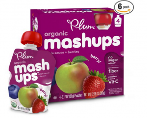 Plum Kids Organic Fruit Mashups, Mixed Berry, 3.17 Ounce, 4 Count (Pack of 6) Only $14.33 – Just 60¢ Per Pouch!