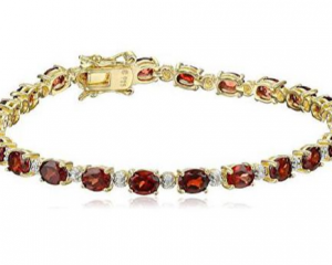 Big Savings on 18k Yellow Gold-Plated Diamond Accent Gemstone Tennis Bracelet!