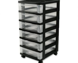 IRIS 6-Drawer Storage Cart with Organizer Top, Black Only $23.60!