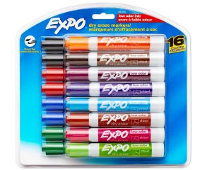 Expo Low-Odor Dry Erase Markers, Chisel Tip, 16-Pack, Assorted Only $7.49!