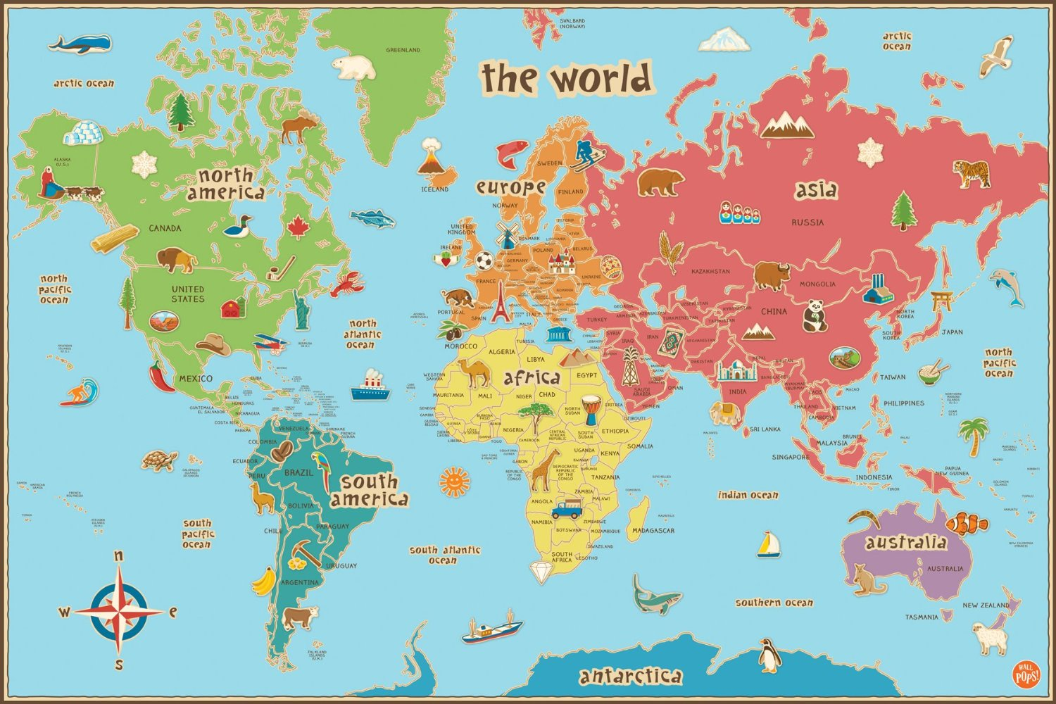 Wall Pops Kids World Dry Erase Map Decal Only $7.36!