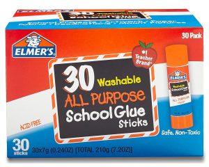 Elmer's All Purpose School Glue Sticks Washable 30 pack $7.88