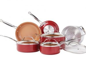 BulbHead Red Copper 10pc Ceramic Cookware Set $74.99