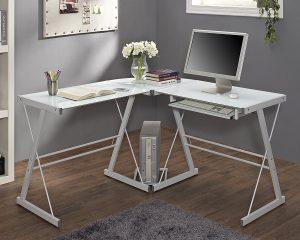 WE Furniture Glass Metal Corner Computer Desk $69.66