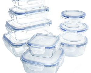 Glass Food Storage Container Set -Safe for Dishwasher, Freezer, Microwave and Oven(18 Piece) $23.79