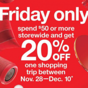 Spend $50 Today, Get 20% Off Coupon at Target!