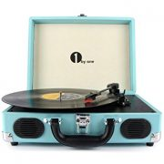 1byone Belt-Drive 3-Speed Portable Stereo Turntable with Built in Speakers, Turquoise $43.99