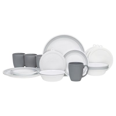 Corelle 20 Piece Livingware Dinnerware Set with Storage Mystic Gray Only $31.38  sc 1 st  Bargain Babe & Corelle 20 Piece Livingware Dinnerware Set with Storage Mystic Gray ...
