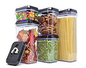 Royal Air-Tight Food Storage Container Set – 5-Piece Set – Durable Plastic – BPA Free – Clear Plastic with Black Lids $23.99