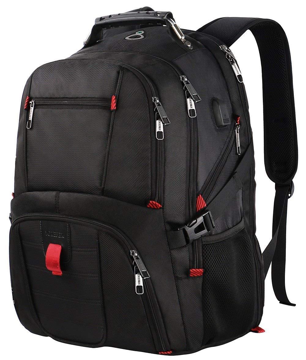 Water Resistant College School Bag USB Charging Port Travel Laptop Backpack
