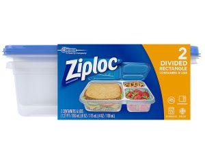 Ziploc Container, Divided Rectangle, 2 Count Only $1.98