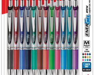 Pentel EnerGel RTX Retractable Liquid Gel Pen, Assorted Ink,12-Pk Only $10