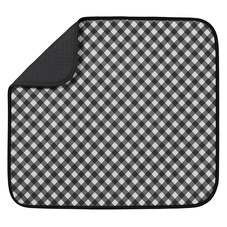 S Amp T Microfiber Dish Drying Mat 16 Quot X 18 Quot Black Gingham 4 33