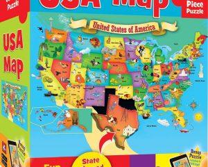 MasterPieces Explorer Kids – USA Map – 60 Piece Kids Puzzle $4