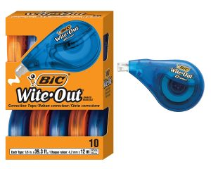 BIC Wite-Out Brand EZ Correct Correction Tape, White, 10-Count $8.65