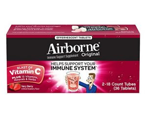 Airborne Very Berry Effervescent Tablets, 36 count $8.99