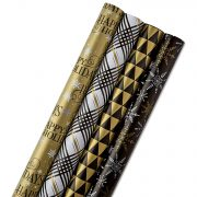 Hallmark Reversible Christmas Wrapping Paper, Black and Gold (Pack of 4) Only $5.49