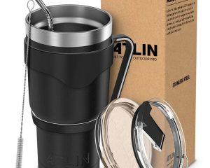 Atlin Tumbler [30 oz. Double Wall Stainless Steel Vacuum Insulation] Travel Mug $18.74
