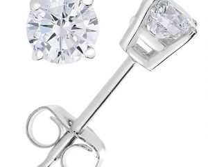 1/4 cttw Diamond Stud Earrings 14K White Gold with Push-Backs and Gift Box $89.97