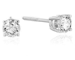1/2 cttw Certified Diamond Stud Earrings 14K White Gold I1-I2 With Screw Backs $189.97