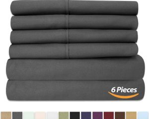 Bed Sheets Queen Size Grey – 6 Piece 1500 Thread Count Fine Brushed Microfiber Deep Pocket Queen Sheet Set Bedding $14.66