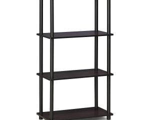Furinno 99557DWN Turn-N-Tube 4-Tier Multipurpose Shelf Display Rack, Single, Dark Walnut $21.01