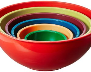Gourmet Home Products 6 Piece Nested Polypropylene Mixing Bowl Set, Orange $10.63