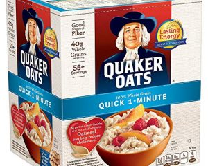 Quaker Oats, Quick 1-Minute Oatmeal, Breakfast Cereal, 55 Servings, Two 40oz Bags in Box $7.98