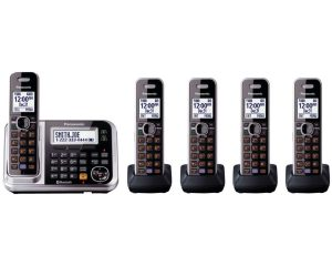 Panasonic Bluetooth Cordless Phone KX-TG7875S Link2Cell with Enhanced Noise Reduction & Digital Answering Machine – 5 Handsets (Black/Silver) $97.99