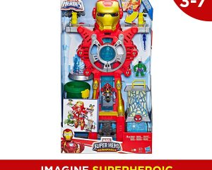 Playskool Heroes Marvel Super Hero Adventures Iron Man Headquarters Playset, Iron Man & Hulk 2.5″ Action Figures, Vehicle, Toys for Kids Ages 3 & Up $29.88