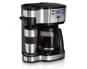 Hamilton Beach 49980A 2-Way Brewer Coffee Maker, Single-Serve with 12-Cup Carafe, Stainless Steel $36.99