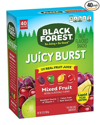 Black Forest Fruit Snacks Juicy Bursts Mixed Fruit 08 Ounce Bag Pack Of 40 596
