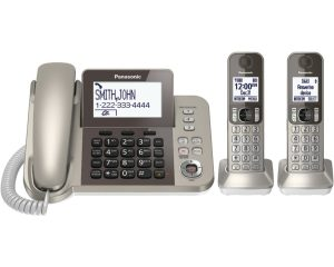 PANASONIC Corded / Cordless Phone System with Answering Machine and One Touch Call Blocking – 2 Handsets – KX-TGF352N (Champagne Gold) $47.99