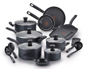 T-fal A821SI64 Initiatives Nonstick 18-Piece Cookware Set, Black $59.47