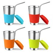 Stainless Steel Cups with Lids and Straws, Kereda 4 Pack $18.69