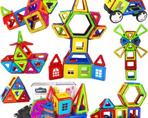 LearnFun 56 Pieces Strong Magnetic Building Block Set $20.99