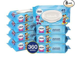 Cottonelle Flushable Toddler Wipes for Kids, 8 Flip-Top Packs, 360 Fragrance-Free Wet Wipes in Disney Packaging $12