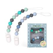 Pacifier Clip, TYRY.HU Silicone Teething Beads Binky Teether Holder for Girls, Baby Shower Gift, 2 Pack (Green+Blue) $8.99