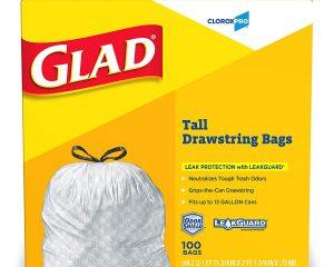 Glad Tall Kitchen Drawstring CloroxPro Trash Bags – 13 Gallon – 100 Count (Packaging May Vary) $12.99