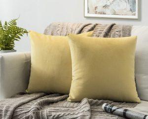 Phantoscope Set of 2 Soft Cozy Velvet Throw Pillow Covers Khaki 18 x 18 inches $10.10