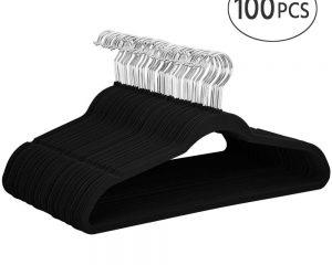 Yaheetech Non Slip Velvet Hangers – 100 Pack Clothes Hanger Hook Swivel 360 – Black $31.89